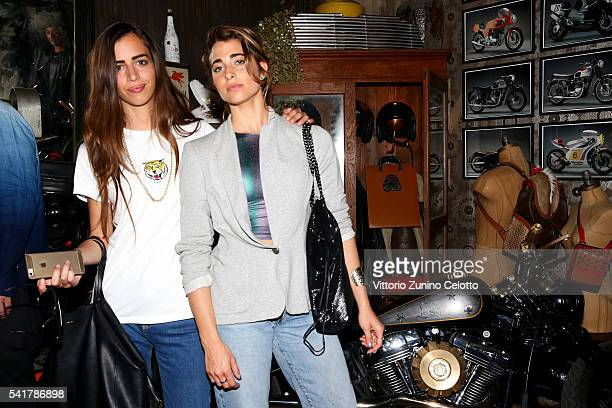Allegra Benini and Ginevra Rossini attend Christian Louboutin Men's Cocktail Event during Milan Men's Fashion Week SS17 on June 20 2016 in Milan Italy