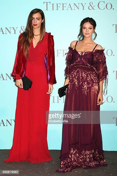 Allegra Benini and Katy Saunders attends Tiffany Co celebration of the opening of its new store in Rome at at Villa Aurelia on May 11 2016 in Rome...