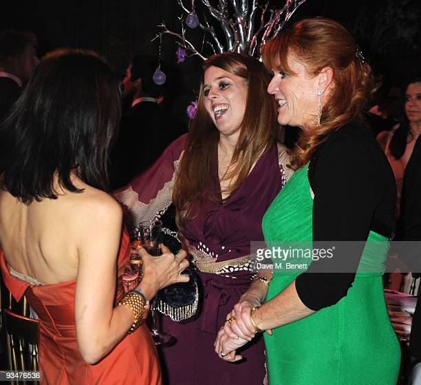 Allegra Donn Princess Beatrice and Sarah Ferguson Duchess of York attend the Sugarplum Ball at the Natural History Museum hosted by The Aloysius...