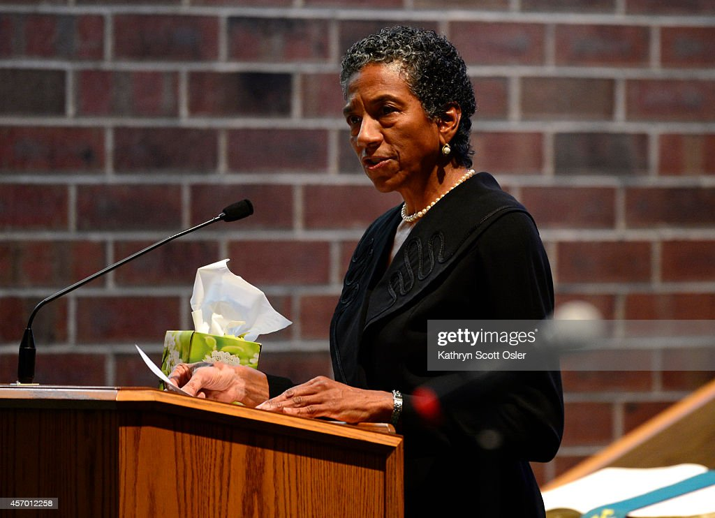 Family, friends, and dignitaries attend the funeral for former state senator Regis F. Groff takes place at Shorter Community African Methodist Episcopal Church in Denver on Friday, Oct. 10, 2014. : News Photo