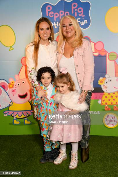 Allegra Kurer and Vanessa Feltz with her grandchildren Zeke and Neroli attend the Peppa Pig Festival Of Fun screening at Vue Leicester Square on...