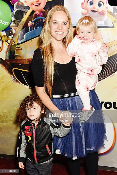 Allegra Kurer with son Ezekiel and daughter Neroli attends a multimedia screening of Storks at Cineworld Leicester Square on October 2 2016 in London...