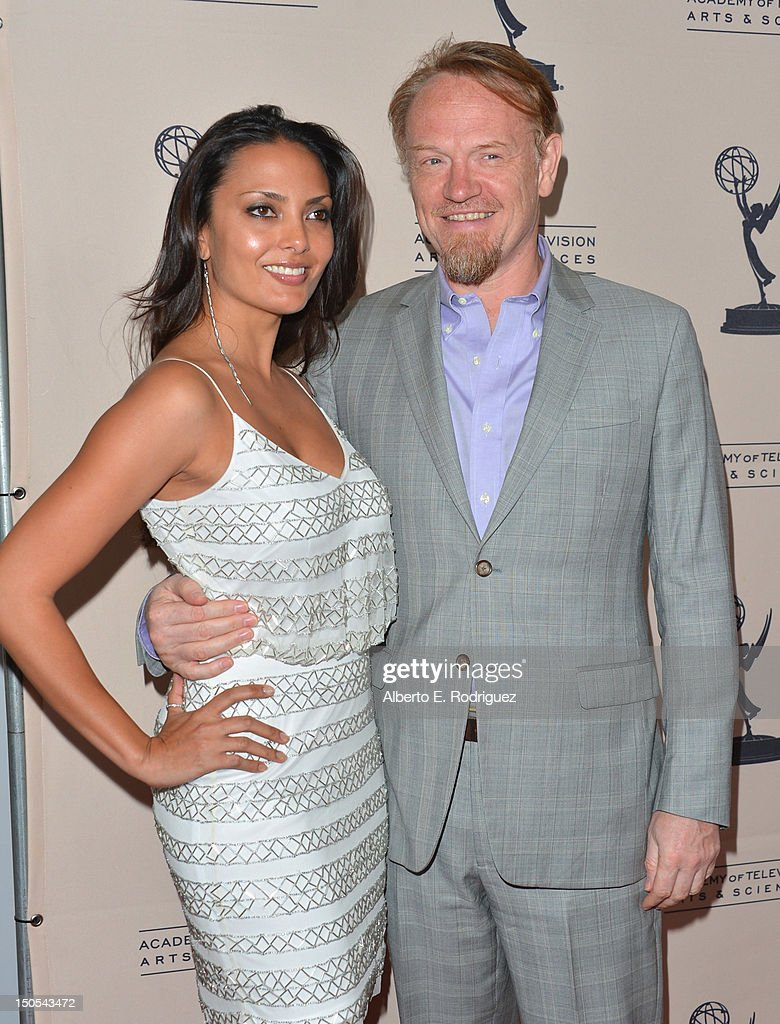 Allegra Riggio and actor Jared Harris arrive to the Academy of Television Arts & Sciences' Performers Peer Group Cocktail Reception at the Sheraton Hotel on August 20, 2012 in Universal City, California.