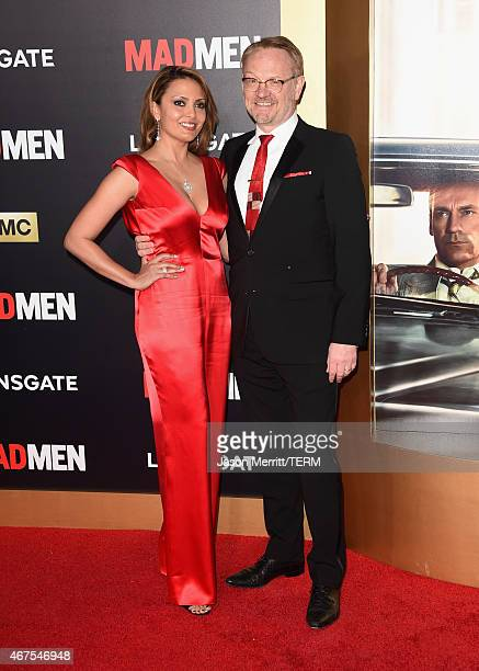 Allegra Riggio and actor Jared Harris attend the AMC celebration of the final 7 episodes of Mad Men with the Black Red Ball at the Dorothy Chandler...