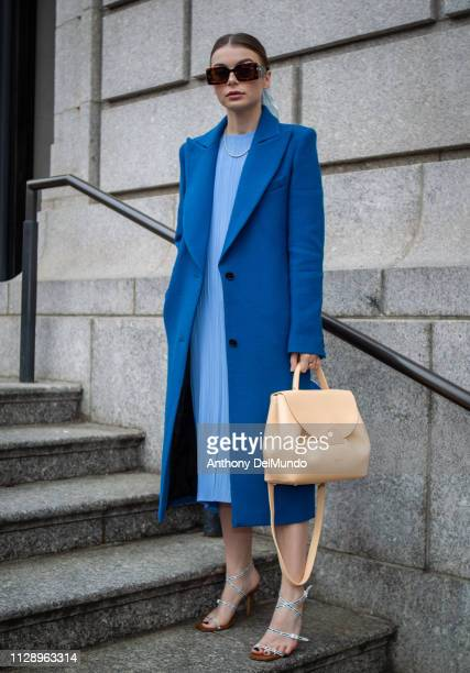 Allegra Shaw poses as she attends Carolina Herrera fall 2019 runway show during New York Fashion Week held at New York Historical Society 170 Central...