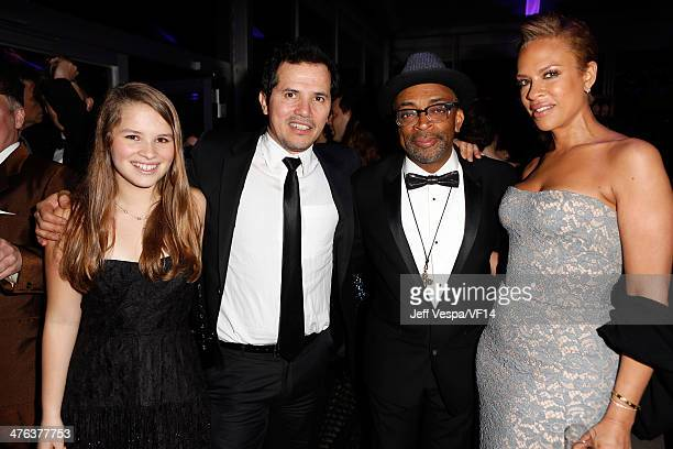 Allegra Sky actor John Leguizamo writer/director Spike Lee and Tonya Lewis Lee attend the 2014 Vanity Fair Oscar Party Hosted By Graydon Carter on...