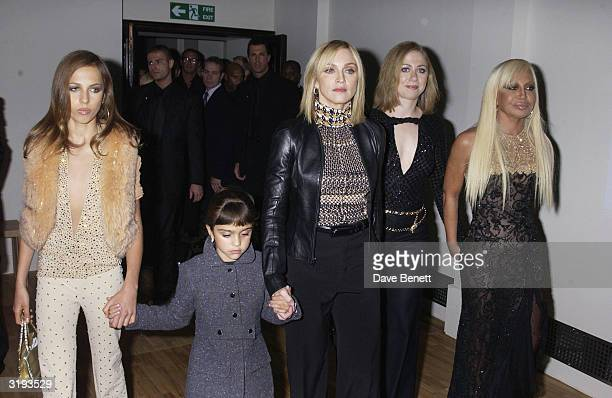 Allegra Versace American singer Madonna with daughter Lourdes Chelsea Clinton and Italian designer Donatella Versace attend the launch of the Versace...