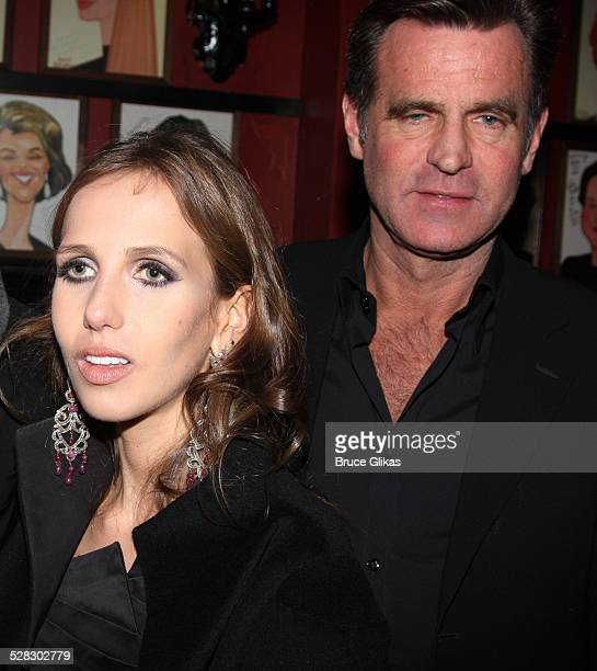 Allegra Versace and father Paul Beck attend the Blithe Spirit Broadway opening night party at Sardi's on March 15 2009 in New York City