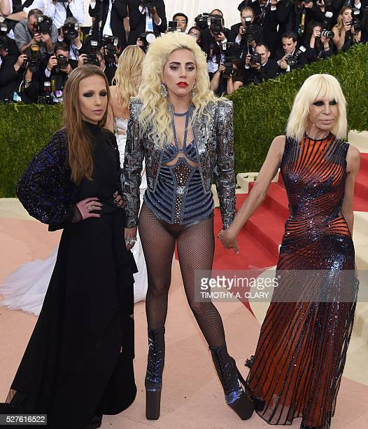 Allegra Versace Beck Lady Gaga and Donatella Versace arrive at the Costume Institute Benefit at the Metropolitan Museum of Art May 2 2016 in New York...