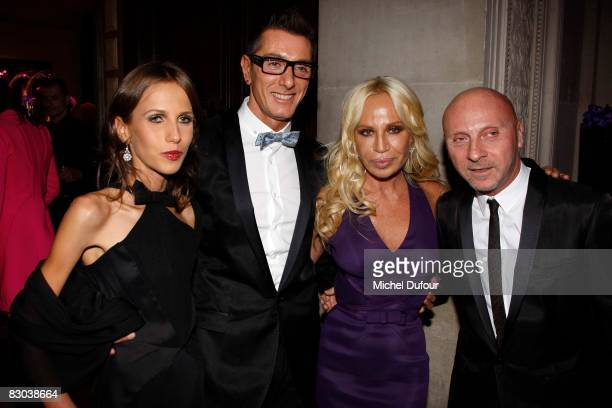 Allegra Versace Domenico Dolce Donatella Versace and Stephano Gabana attend a party to celebrate Suzy Menkes Twenty Year Partnership with The Herald...
