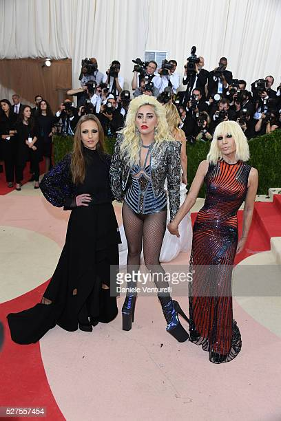 Allegra Versace Lady Gaga and Donatella Versace attend the 'Manus x Machina Fashion In An Age Of Technology' Costume Institute Gala at the...