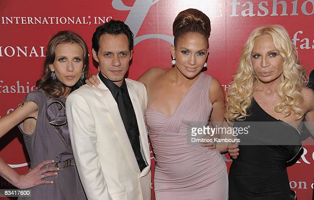 Allegra Versace Marc Anthony Jennifer Lopez and Donatella Versace arrive at The Fashion Group International's 25th Annual Night of Stars at Cipriani...