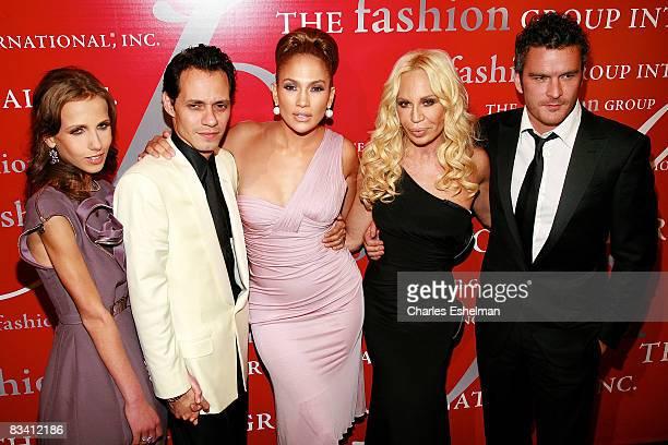 Allegra Versace singer/songwriter Marc Anthony actress/singer Jennifer Lopez fashion designer Donatella Versace and actor Balthazar Getty attend the...