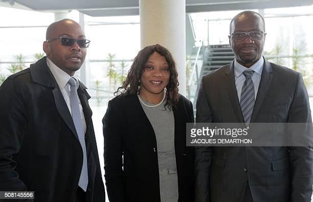 Alleluia Savimbi Helena Savimbi and Cheya Savimbi the children of Angolan rebel chief Jonas Savimbi looks on in the High Court of Paris on February 3...