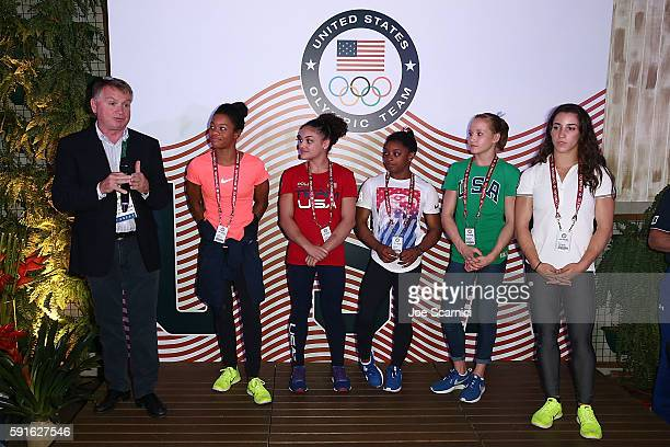 Allen Ashley US Olympians Gabby Douglas Laurie Hernandez Simone Biles Madison Kocian and Aly Raisman attend the Order of Ikkos Ceremony at the USA...