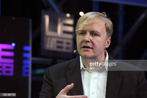 Allen Blue, co-founder of social network LinkedIn, speaks during a plenary session of LeWeb 11 event in Saint-Denis, suburbs of Paris, on December 7,...