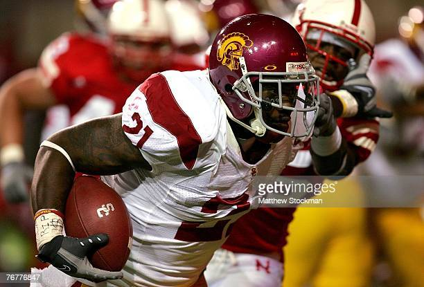 Allen Bradford of the USC Trojans carries the ball against the Nebraska Cornhuskers on September 15 2007 at Memorial Stadium in Lincoln Nebraska