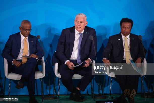 Allen Chastanet Saint Lucia's prime minister center speaks during the United Nations Climate Action Summit in New York US on Monday Sept 23 2019...
