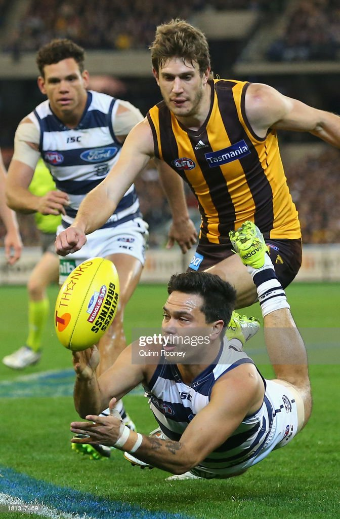 Allen Christensen of the Cats handballs during the AFL First Preliminary Final match between the Hawthorn Hawks and the Geelong Cats at the Melbourne Cricket Ground on September 20, 2013 in Melbourne, Australia.