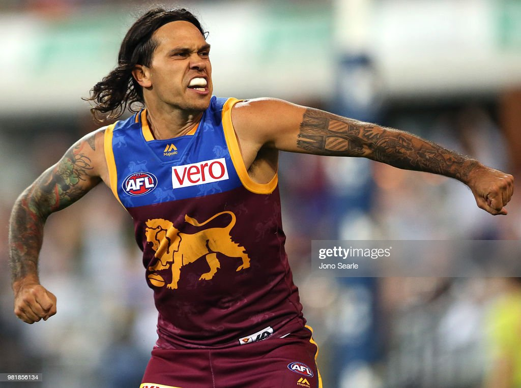 Allen Christensen of the Lions celebrates a goal during the round 14 AFL match between the Brisbane Lions and the Greater Western Sydney Giants at The Gabba on June 23, 2018 in Brisbane, Australia.