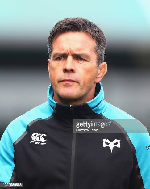 Allen Clarke Director of Rugby of the Ospreys looks on ahead of the Challenge Cup match between Worcester Warriors and Ospreys at Sixways Stadium on...