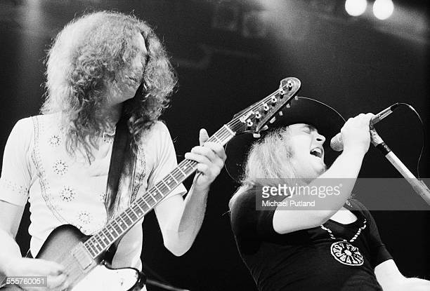 Allen Collins and Ronnie Van Zant performing with American southern rock group Lynyrd Skynyrd 28th October 1975