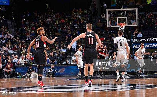 Allen Crabbe and Meyers Leonard of the Portland Trail Blazers against the Brooklyn Nets on January 15 2015 at Barclays Center in Brooklyn New York...