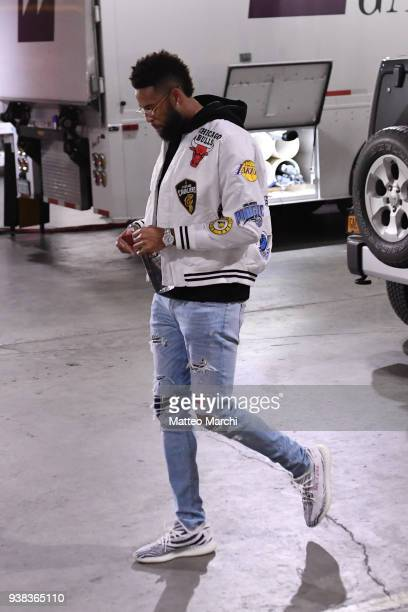 Allen Crabbe of the Brooklyn Nets arrives at the arena before the game against the Cleveland Cavaliers at Barclays Center on March 25 2018 in the...