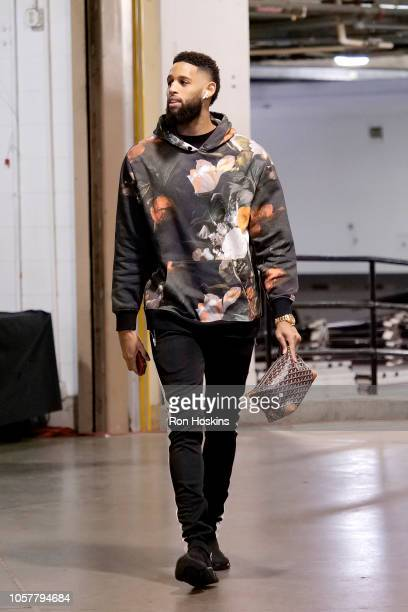 Allen Crabbe of the Brooklyn Nets arrives to the game against the Indiana Pacers during a game on October 20 2018 at Bankers Life Fieldhouse in...