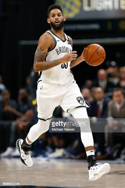 Allen Crabbe of the Brooklyn Nets dribbles the ball up the court against the Indiana Pacers during the second half at Bankers Life Fieldhouse on...