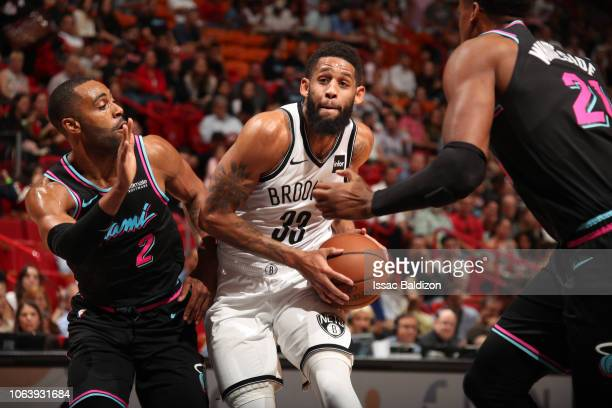 Allen Crabbe of the Brooklyn Nets drives to the basket against the Miami Heat on November 20 2018 at American Airlines Arena in Miami Florida NOTE TO...