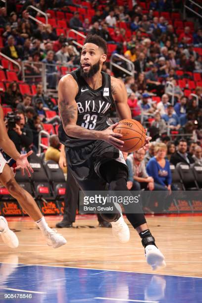 Allen Crabbe of the Brooklyn Nets drives to the basket during the game against the Detroit Pistons on January 21 2018 at the Little Caesars Arena in...