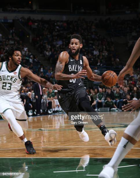 Allen Crabbe of the Brooklyn Nets handles the ball against the Milwaukee Bucks on April 5 2018 at the BMO Harris Bradley Center in Milwaukee...
