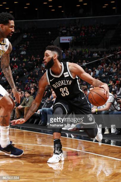 Allen Crabbe of the Brooklyn Nets handles the ball against the Denver Nuggets on October 29 2017 at Barclays Center in Brooklyn New York NOTE TO USER...