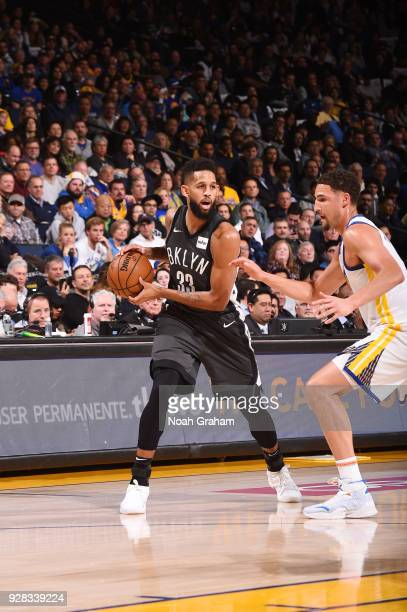 Allen Crabbe of the Brooklyn Nets handles the ball against the Golden State Warriors on March 8 2018 at ORACLE Arena in Oakland California NOTE TO...