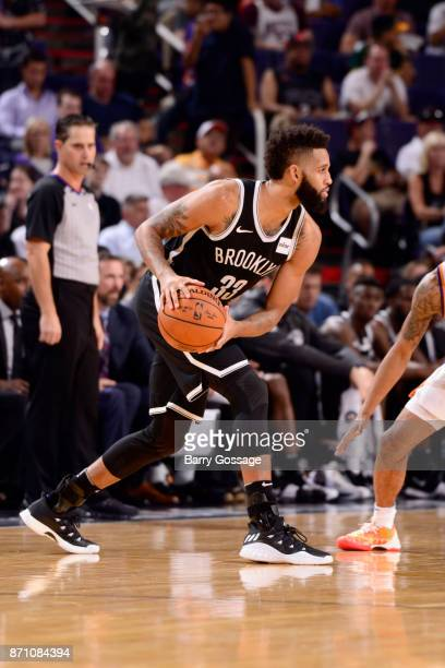 Allen Crabbe of the Brooklyn Nets handles the ball against the Brooklyn Nets on November 6 2017 at Talking Stick Resort Arena in Phoenix Arizona NOTE...