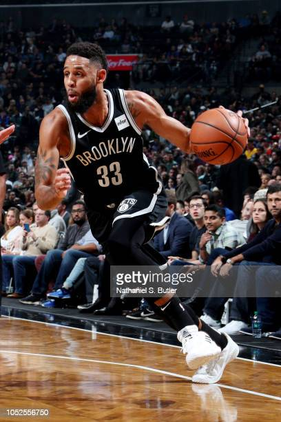 Allen Crabbe of the Brooklyn Nets handles the ball against the New York Knicks on October 19 2018 at Barclays Center in Brooklyn New York NOTE TO...
