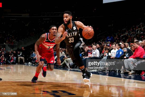Allen Crabbe of the Brooklyn Nets handles the ball against the Washington Wizards on December 1 2018 at Capital One Arena in Washington DC NOTE TO...
