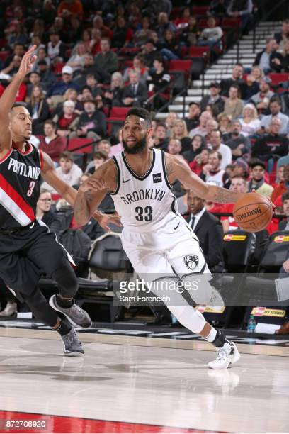 Allen Crabbe of the Brooklyn Nets handles the ball against the Portland Trail Blazers on November 10 2017 at the Moda Center in Portland Oregon NOTE...