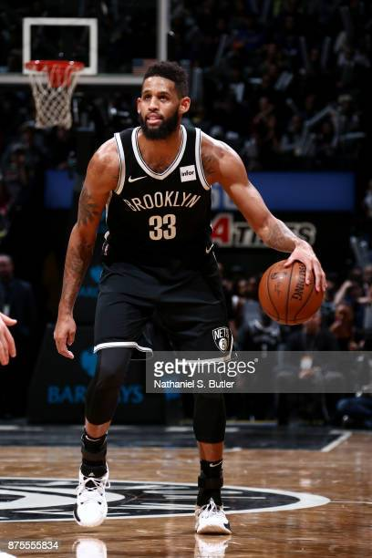 Allen Crabbe of the Brooklyn Nets handles the ball during the game against the Utah Jazz on November 17 2017 at Barclays Center in Brooklyn New York...