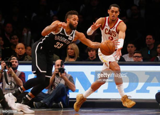 Allen Crabbe of the Brooklyn Nets in action against Jordan Clarkson of the Cleveland Cavaliers at Barclays Center on March 25 2018 in the Brooklyn...
