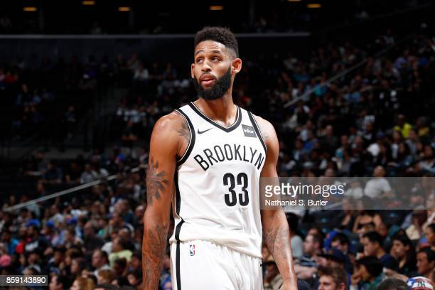 Allen Crabbe of the Brooklyn Nets looks on during the game against the New York Knicks during a preseason game on October 8 2017 at Barclays Center...