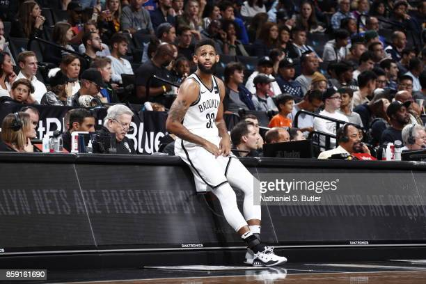 Allen Crabbe of the Brooklyn Nets looks on from the sideline during a preseason game against the New York Knicks on October 8 2017 at Barclays Center...