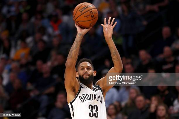 Allen Crabbe of the Brooklyn Nets puts up a shot against the Denver Nuggets in the fourth quarter at the Pepsi Center on November 9 2018 in Denver...
