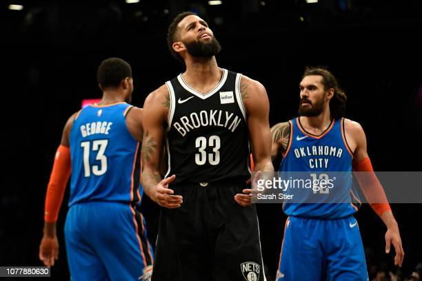 Allen Crabbe of the Brooklyn Nets reacts after a call during the fourth quarter of the game against Oklahoma City Thunder at Barclays Center on...