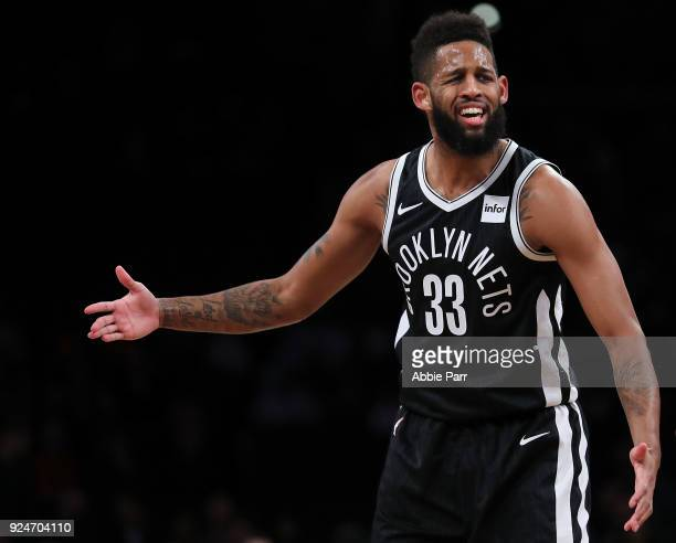 Allen Crabbe of the Brooklyn Nets reacts in the first quarter against the Chicago Bulls during their game at Barclays Center on February 26 2018 in...