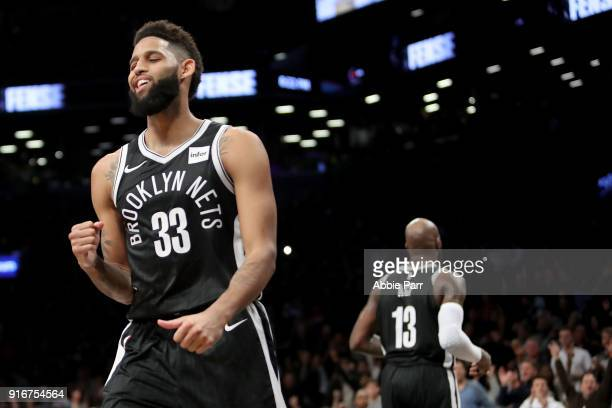 Allen Crabbe of the Brooklyn Nets reacts in the fourth quarter against the New Orleans Pelicans during their game at Barclays Center on February 10...