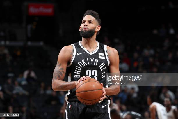 Allen Crabbe of the Brooklyn Nets shoots a free throw against the Memphis Grizzlies on March 19 2018 at Barclays Center in Brooklyn New York NOTE TO...