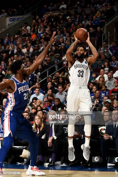Allen Crabbe of the Brooklyn Nets shoots a three point basket during the game against the Philadelphia 76ers on December 12 2018 at the Wells Fargo...