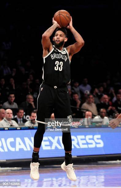 Allen Crabbe of the Brooklyn Nets shoots in an NBA basketball game against the Detroit Pistons on January 10 2018 at Barclays Center in the Brooklyn...